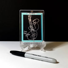 Load image into Gallery viewer, BLUE MOON BASS - Original One Line Art Card - Acrylic Encased w/ Table Top Easel