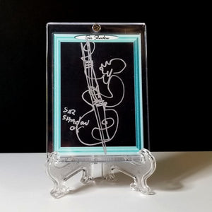 BLUE MOON BASS - Original One Line Art Card - Acrylic Encased w/ Table Top Easel