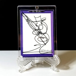 BLUES BASS BENNY - Original One Line Art Card - Acrylic Encased w/ Table Top Easel