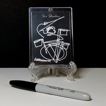 Load image into Gallery viewer, QUICKSILVER SAM - Original One Line Art Card - Acrylic Encased w/ Table Top Easel