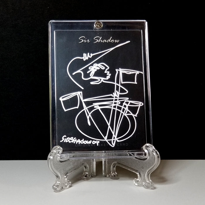 QUICKSILVER SAM - Original One Line Art Card - Acrylic Encased w/ Table Top Easel