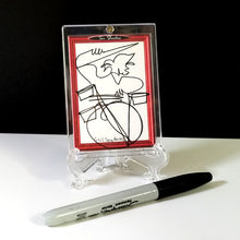 Load image into Gallery viewer, RAZZLE DAZZLE DRUMS - Original One Line Art Card - Acrylic Encased w/ Table Top Easel