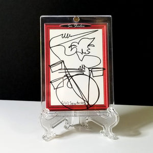 RAZZLE DAZZLE DRUMS - Original One Line Art Card - Acrylic Encased w/ Table Top Easel