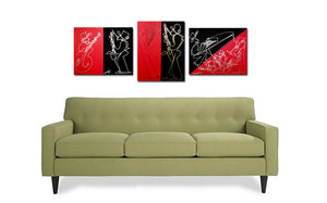 RED BLACK SET - 3 Piece Original Painting Collection