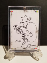 Load image into Gallery viewer, SHADOW SAM ON SAX - Original One Line Art Card - Acrylic Encased w/ Table Top Easel