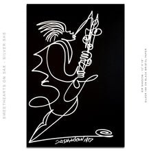 "Load image into Gallery viewer, SWEETHEARTS ON SAX SET - His & Hers Saxophone Players - Set of 2 - 12"" x 18"" Original One Line Drawings"