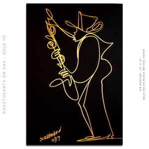 "SWEETHEARTS ON SAX SET - His & Hers Saxophone Players - Set of 2 - 12"" x 18"" Original One Line Drawings"