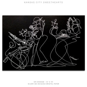 "KANSAS CITY SWEETHEARTS - Lovers / Band - 12"" x 18"" Original One Line Drawing"
