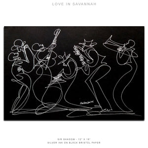 "LOVE IN SAVANNAH - Lovers / Band - 12"" x 18"" Original One Line Drawing"