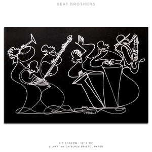 "BEAT BROTHERS - Band - 12"" x 18"" Original One Line Drawing"