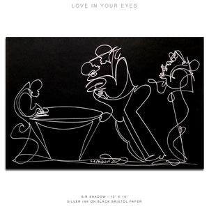 "LOVE IN YOUR EYES - Lovers / Band - 12"" x 18"" Original One Line Drawing"