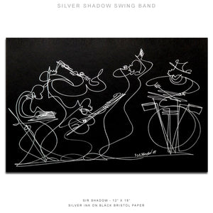 "SILVER SHADOW SWING BAND - Band - 12"" x 18"" Original One Line Drawing"