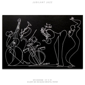 "JUBILANT JAZZ - Band - 12"" x 18"" Original One Line Drawing"