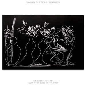 "SWING SISTERS SINGING - Band - 12"" x 18"" Original One Line Drawing"