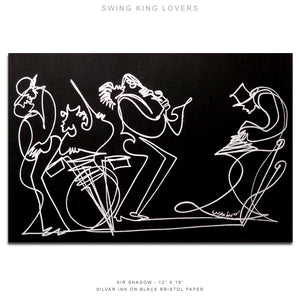 "SWING KING LOVERS - Band - 12"" x 18"" Original One Line Drawing"