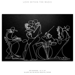"LOVE WITHIN THE MUSIC - Lovers / Band - 12"" x 18"" Original One Line Drawing"