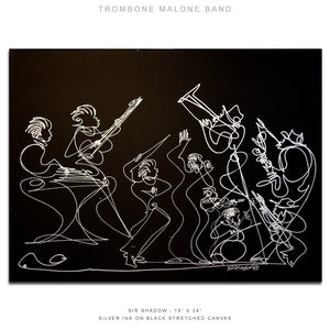 "TROMBONE MALONE BAND - Band- 18"" x 24"" Original One Line Drawing on Canvas"