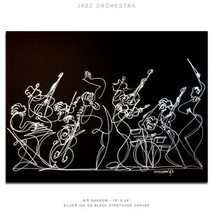 "JAZZ ORCHESTRA - Band- 18"" x 24"" Original One Line Drawing on Canvas"