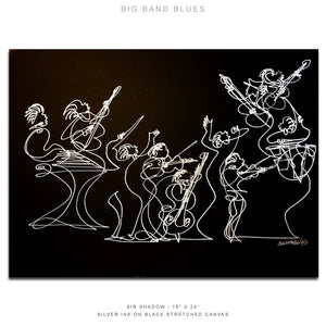 "BIG BAND BLUES - Band- 18"" x 24"" Original One Line Drawing on Canvas"