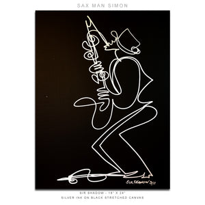"SAX MAN SIMON - Saxophone - 18"" x 24"" Original One Line Drawing on Canvas"
