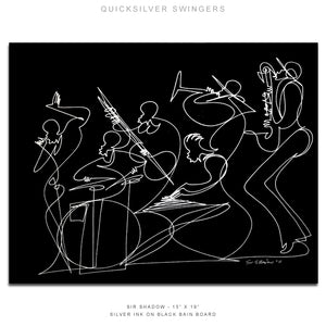 "QUICKSILVER SWINGERS - Band - 15"" x 19"" Original One Line Drawings"