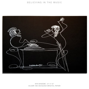 "BELIEVING THE MUSIC - Grand Piano - 9"" x 12"" Original One Line Drawing"