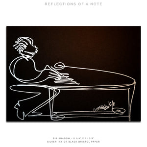 "REFLECTIONS OF A NOTE - Grand Piano - 8 1/4"" x 11 5/8"" Original One Line Drawing"