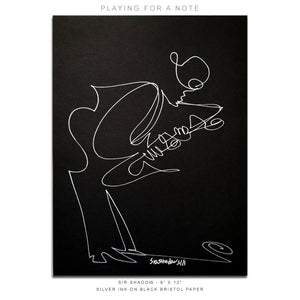 "PLAYING FOR A NOTE - Saxophone - 9"" x 12"" Original One Line Drawing"