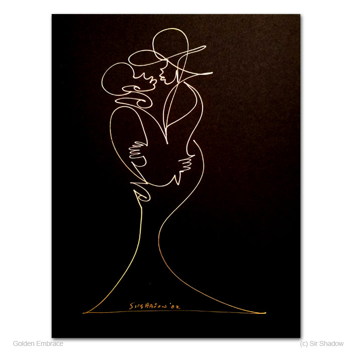 GOLDEN EMBRACE - Lovers - Original One Line Drawing #191026