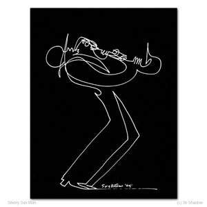 "SILVERY SAX MAN - Saxophone Player - 8.5"" x 11"" Original One Line Drawing"