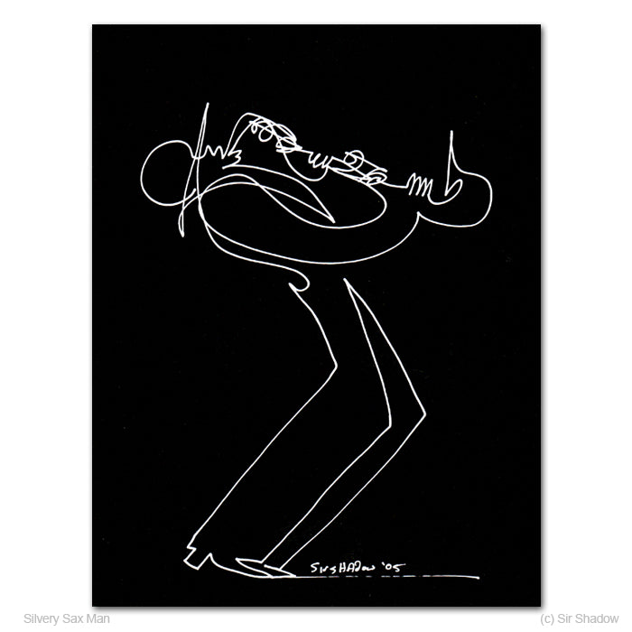 SILVERY SAX MAN - Saxophone Player - Original One Line Drawing #191033