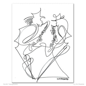 "SIZZLIN' SAXOPHONES - Saxophone Players - 8.5"" x 11"" Original One Line Drawing"