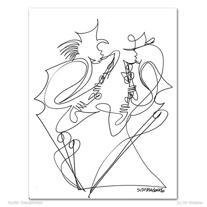 SIZZLIN' SAXOPHONES - Saxophone Players - Original One Line Drawing #191048