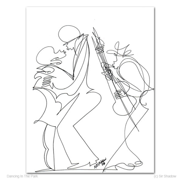 DANCING IN THE PARK - Lovers / Saxophone Player - Original One Line Drawing #191054
