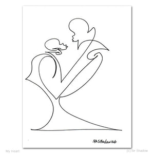 "MY HEART - Lovers - 8.5"" x 11"" Original One Line Drawing"
