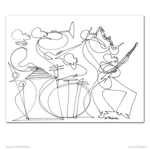 "SWEET STREET BLUES - Band - 8.5"" x 11"" Original One Line Drawing"