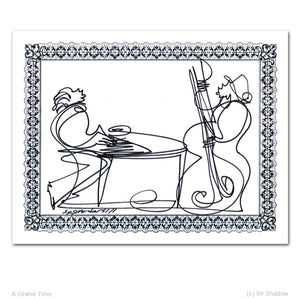 "A GRAND TIME - Piano / Bass - 8.5"" x 11"" Original One Line Drawing"