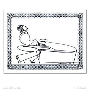 "ALONE WITH MY BABY - Piano - 8.5"" x 11"" Original One Line Drawing"