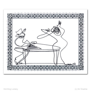 "STERLING LULLABY - Singer / Piano - 8.5"" x 11"" Original One Line Drawing"