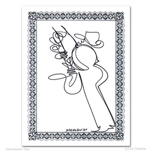 "SWEETWATER SAX - Saxophone - 8.5"" x 11"" Original One Line Drawing"