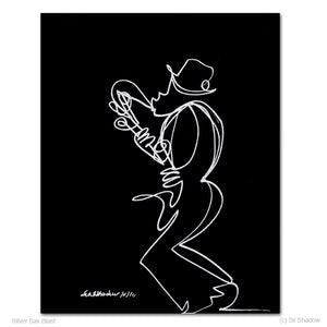 "SILVER SAX BLAST - Saxophone Player - 8"" x 10"" Original One Line Drawing"