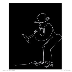 "BENNY BLOWIN' BLUES - Keyboard / Piano - 8"" x 10"" Original One Line Drawing"