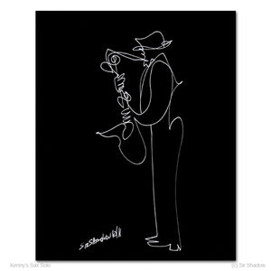 "KENNY'S SAX SOLO - Saxophone - 8"" x 10"" Original One Line Drawing"
