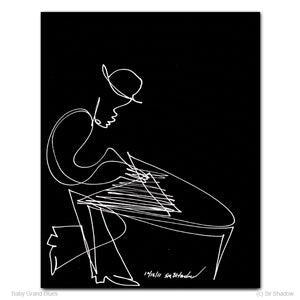 "BABY GRAND BLUES - Keyboard / Piano Player - 8"" x 10"" Original One Line Drawing"