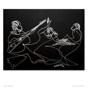 "JAZZ NIGHTS - Band - 9"" x 12"" Original One Line Drawing"