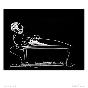 SOLO SERENADE - Grand Piano - Original One Line Drawing #912009