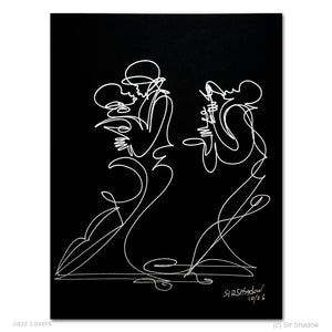 JAZZ LOVERS - Lovers / Saxophone - Original One Line Drawing #912014