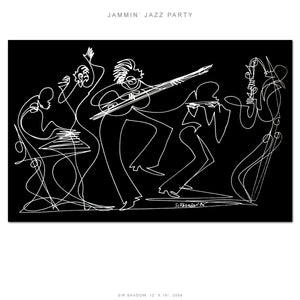 "JAMMIN' JAZZ PARTY - Lovers Jazz Band - 12"" x 18"" Original One Line Drawing"