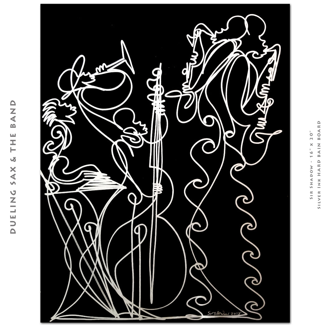 DUELING SAX & The BAND - Saxophone Band - Original One Line Drawing #181011