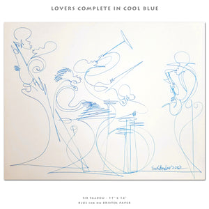 "LOVERS COMPLETE IN COOL BLUE - Lovers / Band - 11"" x 14"" Original One Line Drawing"